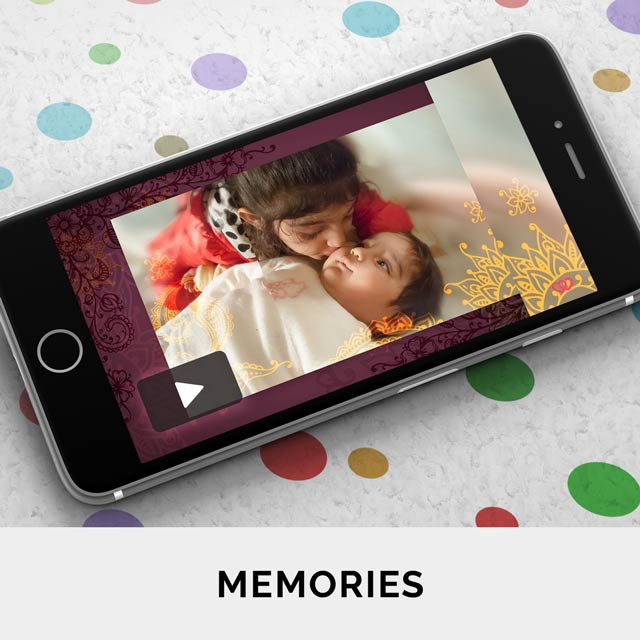 Share your photos and precious memories with friends in a personalised slideshow or video greeting