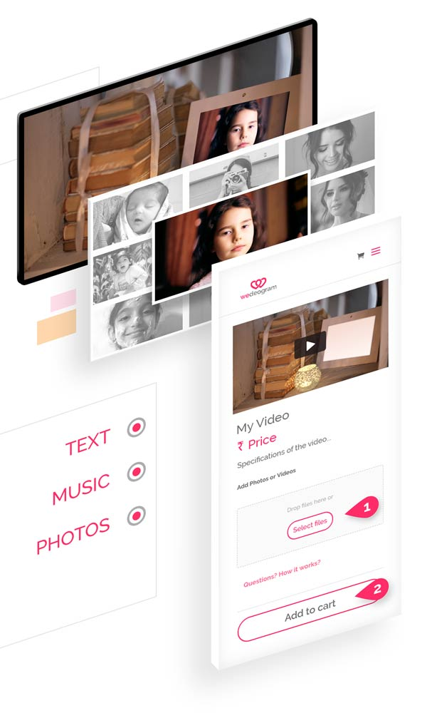 3 easy steps to Customise Babul Wedding Invitation Video with photos, text and more at wedeogram