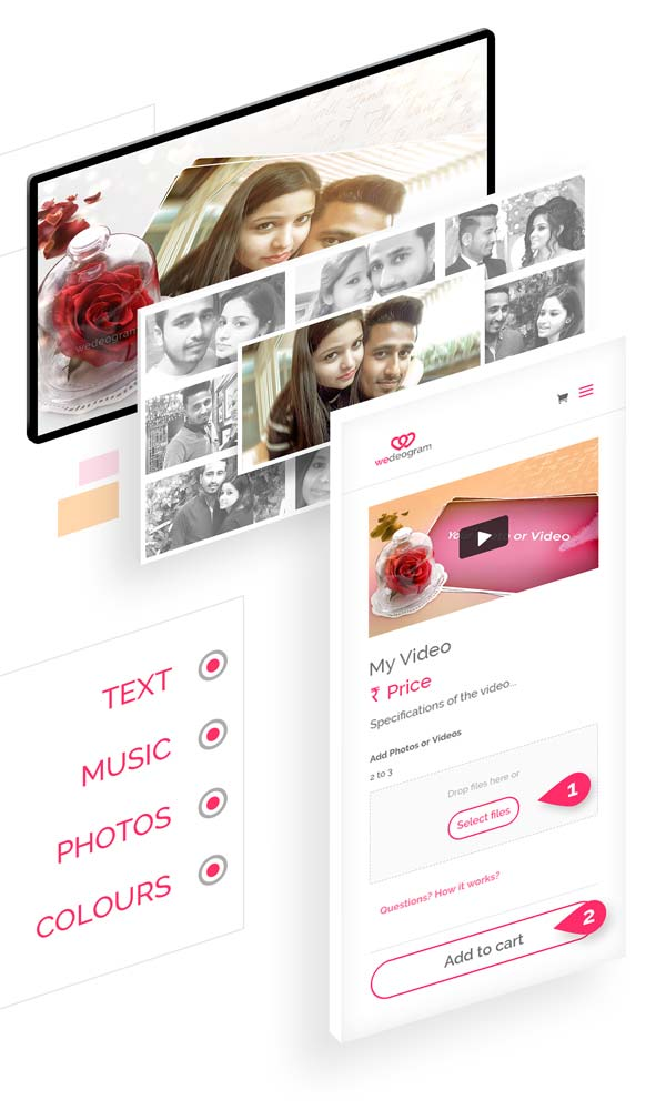 3 simple steps to Customise Classic Wedding Invitation Video with photos, text and more at wedeogram