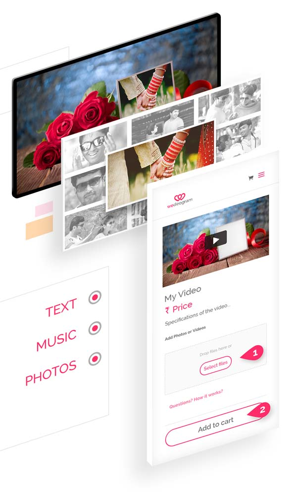 Easily Customise Eternal Wedding Invitation Video with photos, text and more online