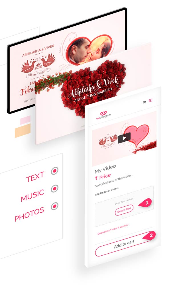 Customise Fragrant Wedding Invitation Video with photos, text