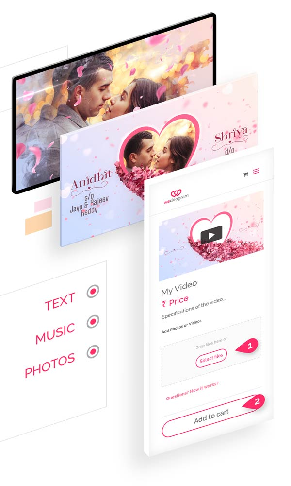 3 simple steps to Customise Elegant Wedding Invitation Video with photos, text and more at wedeogram